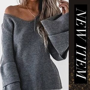 Layered Bell Sleeve Loose Neck Sweater